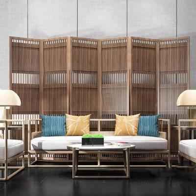 新中式沙发组合, 实木茶几, 新中式台灯, 新中式屏风, 新中式