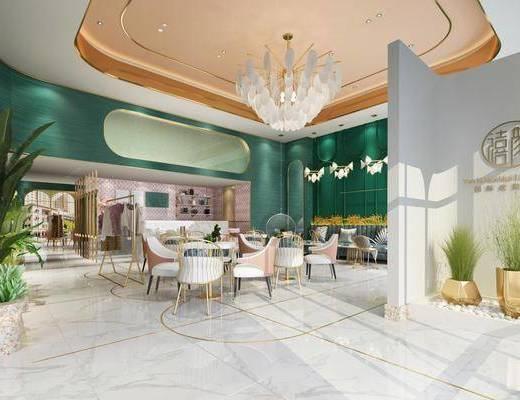 美容院大厅, 美容美发, 桌椅组合, 吊灯, 绿植植物, 多人沙发, 衣架服饰, 盆栽, 现代轻奢