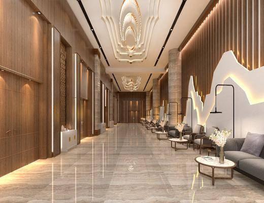 走廊过道, 多人沙发, 单人沙发, 落地灯, 单人椅, 吊灯, 边几, 装饰柜, 摆件, 装饰品, 陈设品, 现代