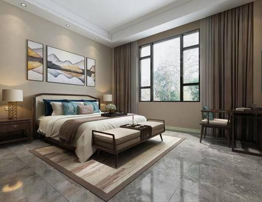 卧室, 双人床, 床尾凳, 床头柜, 台灯, 装饰画, 挂画, 照片墙, 单人椅, 桌子, 新中式