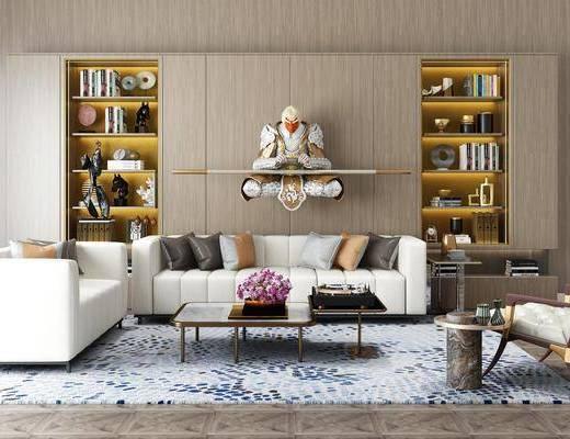 沙發組合, 沙發茶幾組合, 裝飾柜, 書柜, 書籍, 擺件組合, 墻飾, 裝飾品, 陳設品, 現代