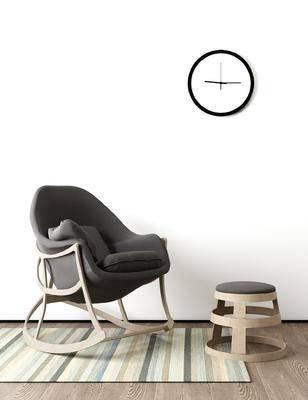 矮凳, 时钟, 现代, 北欧, 摇椅, 休闲沙发, 休闲椅