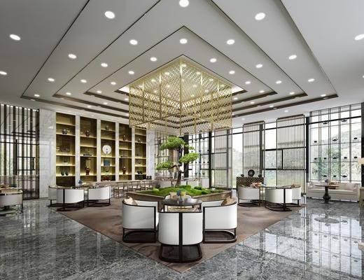 酒店大堂, 桌子, 单人椅, 餐桌, 落地灯, 多人沙发, 茶几, 装饰柜, 摆件, 装饰品, 陈设品, 树木, 新中式