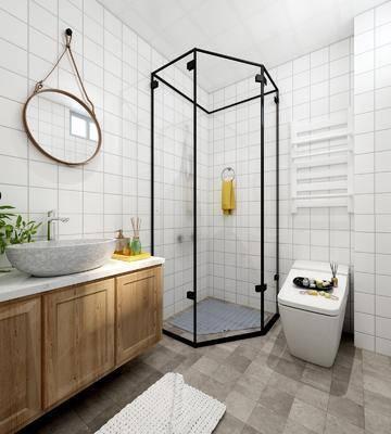 北欧卫生间, 北欧卫浴, ?#35789;?#21488;, 北欧镜子, 马桶, 盆栽, 置物柜