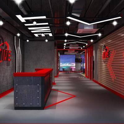 健身室, 前台, 接待区, 工业风健身接待区, 工业风, 背景墙, 吊灯
