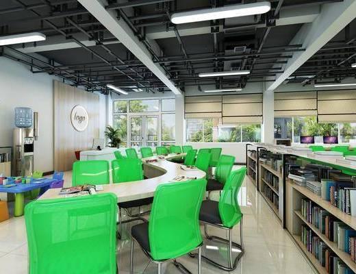 阅览室, 图书馆, 书桌, 单人椅, 前台, 装饰柜, 书籍, 装饰画, 挂画, 装饰品, 陈设品, 墙饰, 照片墙, 现代