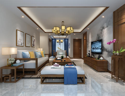 新中式客厅, 新中式, 中式客厅, 中式沙发, 沙发组合, 沙发茶几组合
