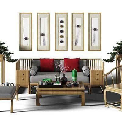多人沙发, 单人椅, 沙发榻, 边几, 摆件, 盆栽, 装饰画, 新中式, 茶几