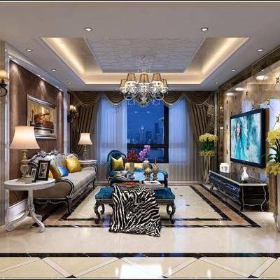 欧式客厅, 欧式沙发, 客厅, 沙发组合, 沙发茶几组合, 吊灯