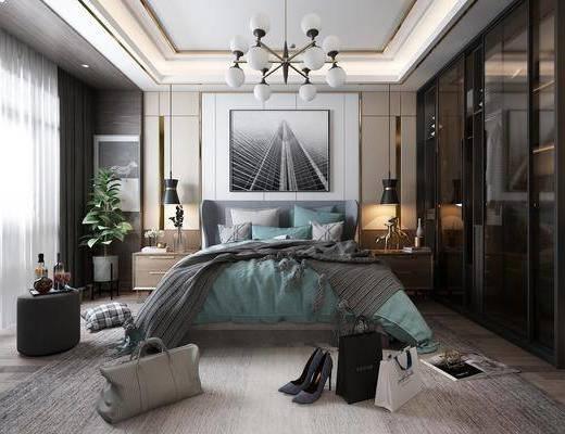 卧室, 床具组合, 现代卧室, 现代港式, 摆件, 植物, 盆栽, 挂画, 吊灯, 衣柜, 衣服, 现代