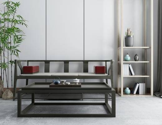 沙发组合, 茶桌, 茶具组合, 植物