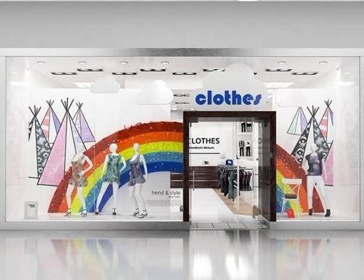 服装店, 门头橱窗, 模特轨道灯, 现代