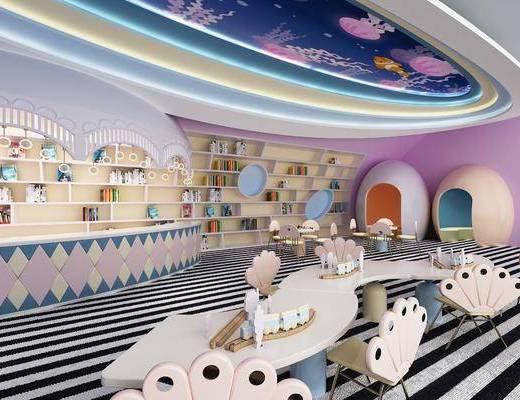 现代, 幼儿园, 儿童桌, 儿童椅, 书架