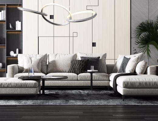 沙发组合, 茶几, 吊灯, 装饰柜