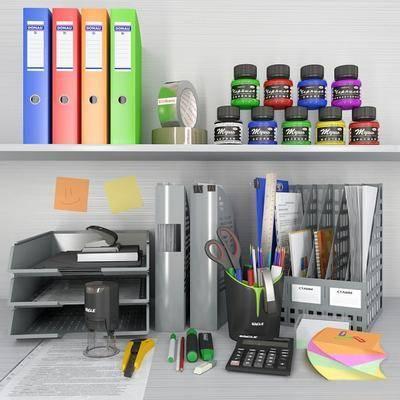 现代办公用品文具组合, 现代, 文具, 颜料, 文件夹, 办公用品