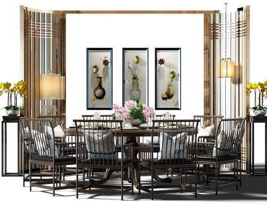 餐桌, 桌椅, 桌椅组合, 餐桌椅组合, 装饰画, 挂画, 组合画, 壁灯, 圆桌, 餐桌椅, 中式, 新中式