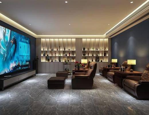 沙发, 巨幕, 酒柜, 边几, 台灯, 电影院