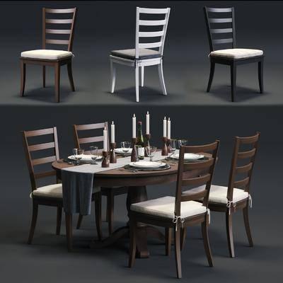 桌椅组合, 餐桌椅, 餐桌, 餐具, 组合, 现代