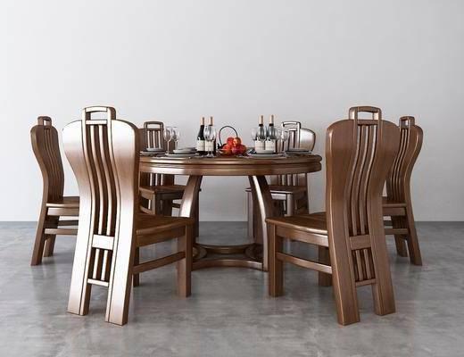 桌椅组合, 餐桌椅组合, 中式
