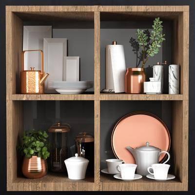 茶壶杯子, 装饰柜, 摆件组合, 花瓶用具, 装饰饰品, 饰品模型, 北欧