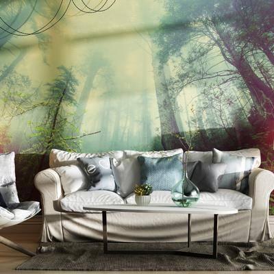 多人沙发, 落地灯, 吊灯, 椅子, 茶几, 现代