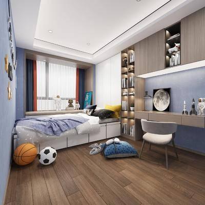 单人床, 桌椅组合, 墙饰