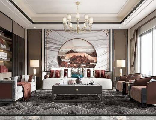 沙发, 茶几, 椅子, 角几, 吊灯, 书柜, 床尾踏, 挂画, 台灯