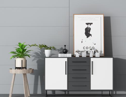 装饰画, 盆栽, 陈设品, 摆件, 边柜, 玄关柜