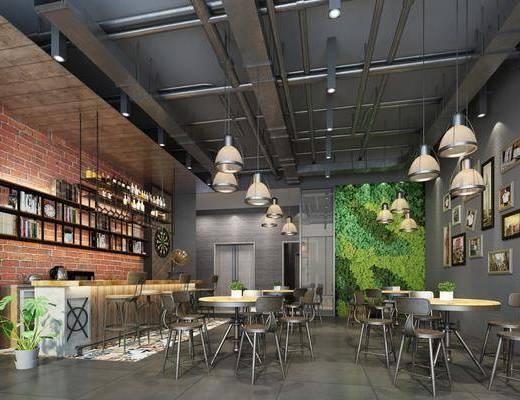 咖啡厅, 桌椅组合, 吊灯, 吧台, 吧椅, 绿植墙