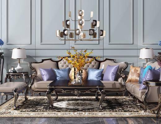 茶几, 花瓶组合, 金属吊灯, 地毯