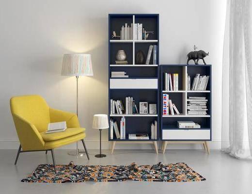 书柜, 装饰柜, 边柜, 落地灯, 单人沙发, 书籍, 装饰品, 陈设品, 北欧