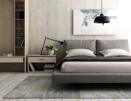 卧室, 双人床, 床头柜, 装饰画, 挂画, 吊灯, 北欧