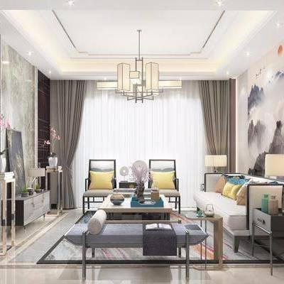 多人沙发, 布艺沙发, 单人沙发, 沙发榻, 边几, 边柜, 装饰画, 茶几, 摆件, 台灯, 吊灯, 新中式