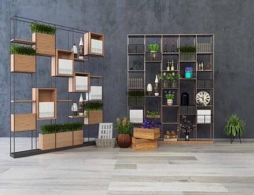 装饰层架, 装饰架, 书架, 盆栽, 绿植植物, 书籍, 花瓶花卉, 摆件, 装饰品, 陈设品, 工业风