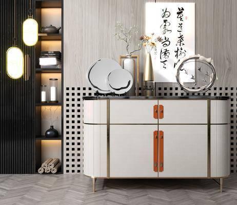 边柜, 柜架组合, 装饰品, 花瓶