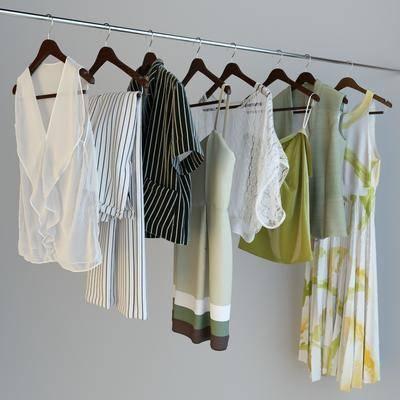 衣服, 服饰, 衣架, 现代, 裙子, 上衣, 吊带