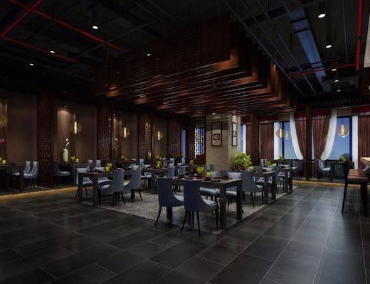 中式餐厅, 餐桌, 沙发椅, 盆栽, 中式