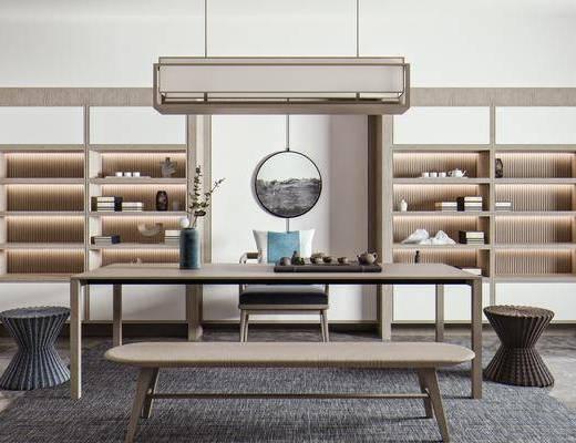 茶桌, 茶具, 茶室, 吊灯, 展示柜, 摆件装饰品