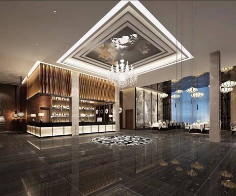 酒店餐厅, 吊灯组合, 餐桌, 餐椅, 餐具, 吊灯, 装饰柜, 酒瓶, 台灯, 新中式