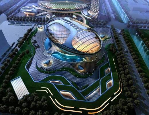 科技馆, 异形建筑外观, 楼盘, 建筑, 住宅