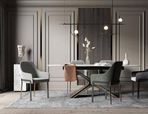 餐桌, 桌椅组合, 吊灯, 花瓶, 摆件