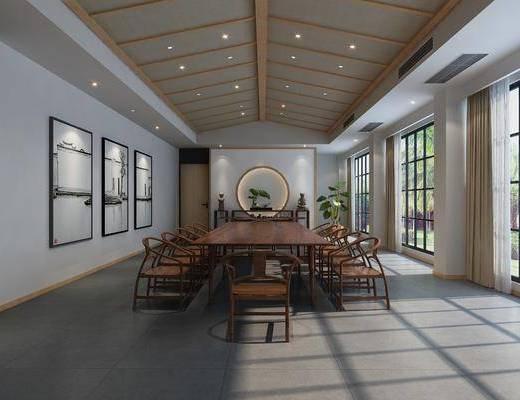 会议室, 会议桌, 单人椅, 盆栽, 绿植植物, 装饰画, 挂画, 案几, 中式