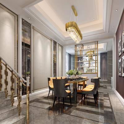 后现代餐厅, 后现代, 餐厅, 现代吊灯, 金属吊灯, 金属扶手, 楼梯, 餐桌椅, 椅子, 装饰画