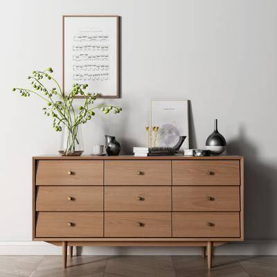 柜架组合, 边柜, 摆件组合, 装饰画, 装饰品
