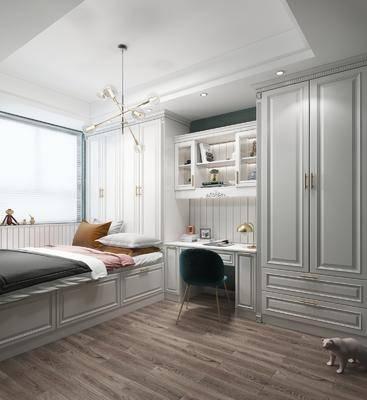 现代卧室, 榻榻米, 卧室, 衣柜, 书桌, 椅子, 置物柜, 摆件, 吊灯