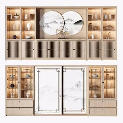 博古架, 书柜, 新中式柜架组合