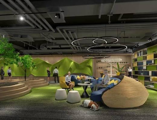 休闲区, 会客区, 洽谈区, 工业风吊顶, 吊灯, 沙发, 绿植