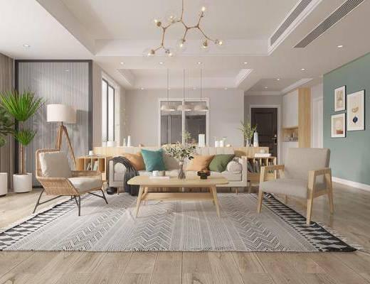 沙发组合, 茶几, 吊灯, 橱柜组合, 装饰画