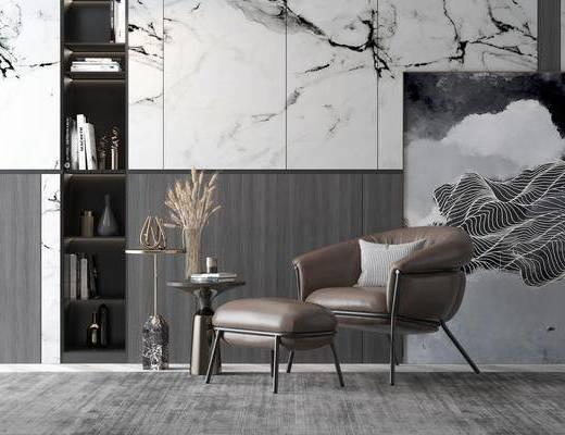 單人沙發, 茶幾, 擺件組合, 裝飾畫, 背景墻