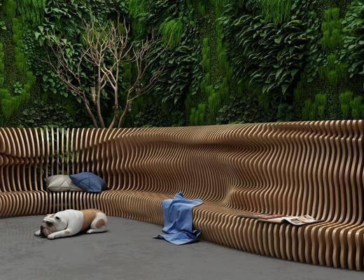 户外椅, 植物墙, 现代